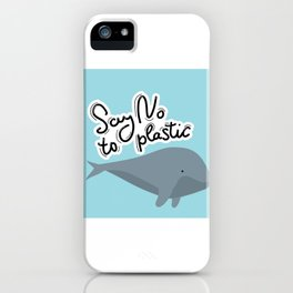 Say no to plastic. Whale, sea, ocean.  Pollution problem concept Eco, ecology banner poster. iPhone Case