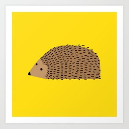 Hedgehog on yellow Art Print