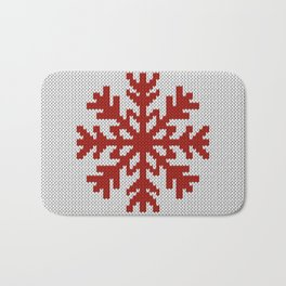 Knitted Christmas decoration red snowflake on white Bath Mat