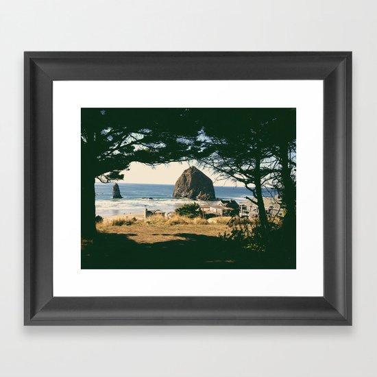 Haystack Rock Through Trees Framed Art Print