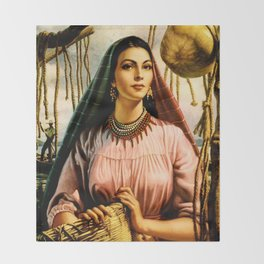 Jesus Helguera Painting of a Mexican Fisher Girl With Basket Throw Blanket