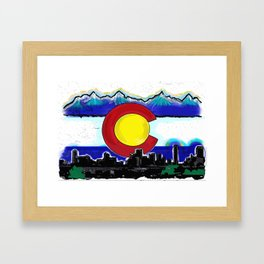 Denver Colorado artistic skyline art Framed Art Print