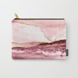 Pink And Gold Marble Waves Carry-All Pouch
