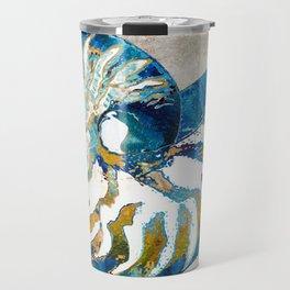 Beachy Art - Nautilus Shell Bleu - Sharon Cummings Travel Mug