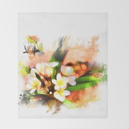 Beautiful tropical flowers on white Throw Blanket