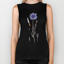 blue cornflower and knife Biker Tank
