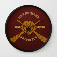 quidditch Wall Clocks featuring Gryffindor quidditch team iPhone 4 4s 5 5c, ipod, ipad, pillow case, tshirt and mugs by Three Second