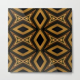 Tribal Diamonds Pattern Brown Colors Abstract Design Metal Print