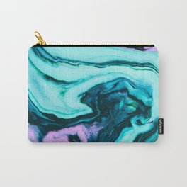 Turquoise and purple marbled paper Carry-All Pouch