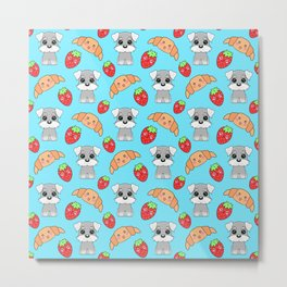 Cute happy funny baby puppy Schnauzers, sweet adorable yummy Kawaii croissants and red ripe summer strawberries cartoon light pastel blue pattern design Metal Print