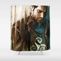 tyler spangler Shower Curtains featuring Derek Hale * Tyler Hoechlin  by AkiMao