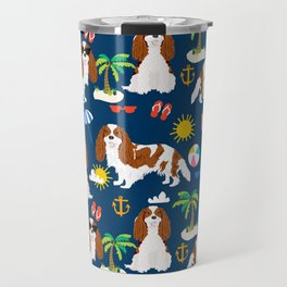 Cavalier King Charles Spaniel beach day tropical vacation socal sunshine Travel Mug