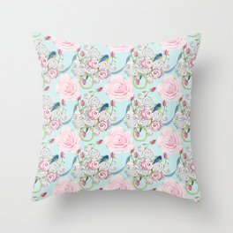 Bluebirds and Shabby Chic Roses on Paris Blue Throw Pillow
