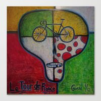 tour de france Canvas Prints featuring tour de france skull by mike giese