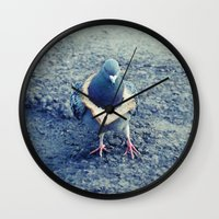 hiphop Wall Clocks featuring HipHop Dove Walk by Sigurdfisk