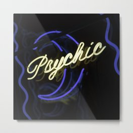 Psychic Moon Neon Sign Metal Print