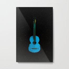 Blue Guitar Musician Music Rock Classical Rhythm Music Lover Guitar Lover Metal Print