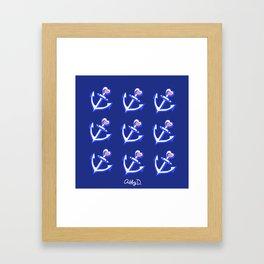 Navy Blue Heart Anchors Pattern Framed Art Print