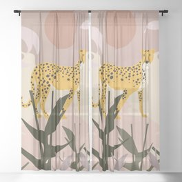 Spotted - Panther Jungle Retro Minimalist Graphic Sheer Curtain