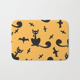 Seamless Halloween Pattern with cats and bats Bath Mat