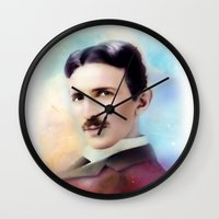 tesla Wall Clocks featuring Tesla by Mamboo