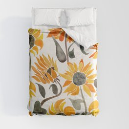 Sunflower Watercolor – Yellow & Black Palette Comforters