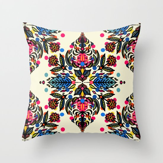 Bright Folk Art Pattern - hot pink, orange, blue & green Throw Pillow