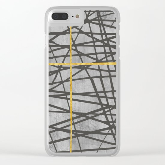 Black abstract black and gold lines on concrete -Mix&Match with Simplicty of life Clear iPhone Case