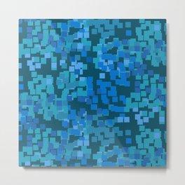 Geometric Squares Pattern in Royal and Pastel Blues Metal Print