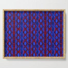 Snake skin seamless pattern vector. Red-blue snake. Snakeskin print background pattern. Serving Tray