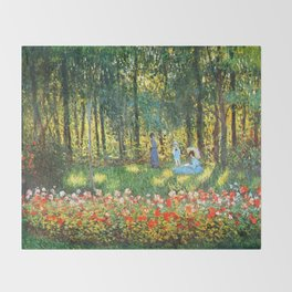 Claude Monet The Artist's Family In The Garden Throw Blanket