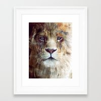 red Framed Art Prints featuring Lion // Majesty by Amy Hamilton