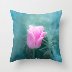 Pink Blossom Tulip Throw Pillow