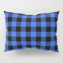 Royal Blue and Black Lumberjack Buffalo Plaid Fabric Pillow Sham