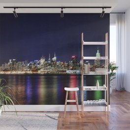 Midtown Manhattan Reflecting on the East River Landscape Painting by Jeanpaul Ferro Wall Mural