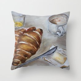 French breakfast, coffee and croissant, original oil painting, daily traditional art Throw Pillow