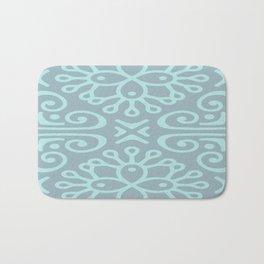 Aqua On Blue Boho Design Bath Mat