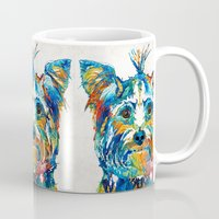 yorkie Mugs featuring Colorful Yorkie Dog Art - Yorkshire Terrier - By Sharon Cummings by Sharon Cummings