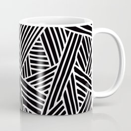 Abstract black & white Lines and Triangles Pattern - Mix and Match with Simplicity of Life Coffee Mug