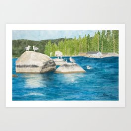 A Day on the Rocks Art Print