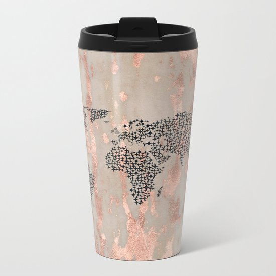 Star Map on Rose Gold Marble Metal Travel Mug