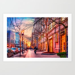 Boston at Christmas. Art Print