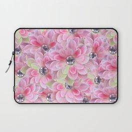 Shocking Pink Flora Gems Laptop Sleeve