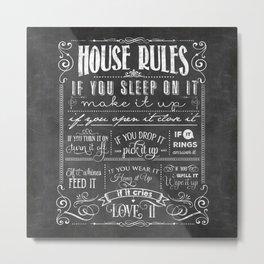 House Rules Retro Chalkboard Metal Print