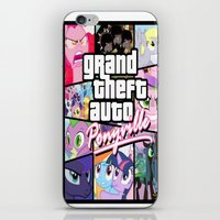 grand theft auto iPhone & iPod Skins featuring My little grand theft by eatpersonality
