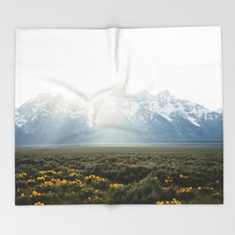 Sunset Behind the Tetons Throw Blanket