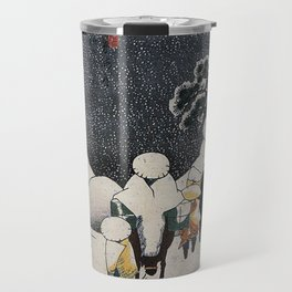 Hiroshige, Travellers on horseback in the snow Travel Mug