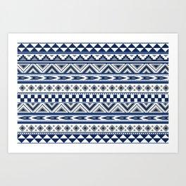 Tribal Art Pattern Navy Blue Silver White Art Print