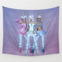 manga Wall Tapestries featuring Manga Girls by Illu-Pic-A.T.Art