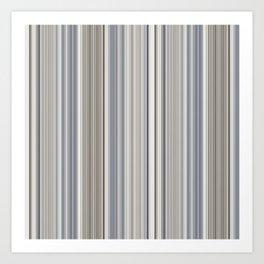 Blue grey Tan Stripes Art Print